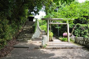 大神宮橋を渡り、しばらくすると「日向大神宮」の二の鳥居があるので、鳥居をくぐって参道を進みます。 【画像右手方向に進む。左は、安養寺へ通じる石段。】