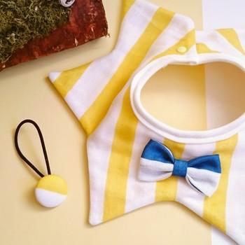 星と蝶ネクタイのようなリボンがお洒落!お母さんとおそろいのヘアゴムも素敵です。縫う面積は増えても難しさはさほど変わらないので大丈夫。