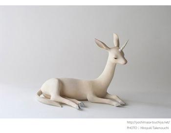 「一角」 しなやかな身体つきのユニコーン。白い肢体とねじれた角が魅惑的。