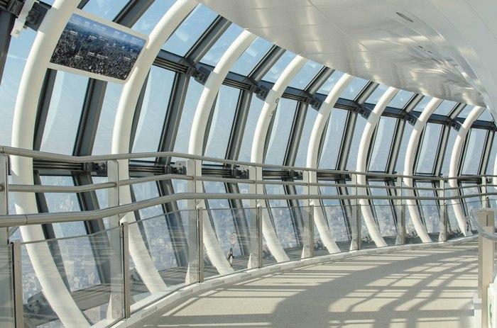 ここに来たら外せないのが、スカイツリーの「天望デッキ」と「天望回廊」。天望デッキは地上350m、天望回廊は地上450mからの眺めが楽しめます。  写真は「天望回廊」。チューブ型でガラス張りの回廊がぐるっと続いていて、まるで空中散歩しているような不思議な気分を体感できます。