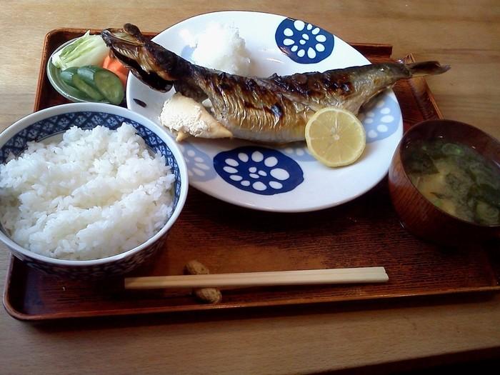 時にはさっぱり魚を食べたいときも。刺身や焼き魚、煮魚など、季節ごとおすすめの魚料理がお目見えします。写真は、「子持ちにしんの塩焼き定食」。場所柄、学生も多いのですが、近所に住む主婦やお年寄りも多く見かけます。