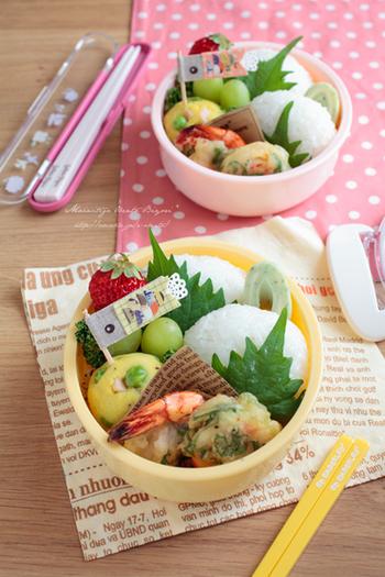 子どもの日のお弁当には、マステで作った鯉のぼりのピックで。いつものお弁当も、これだけで節句のご馳走に変身!