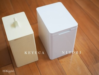 KEYUCAとNITORIのごみ箱は、シンプル&小型。狭いキッチンでも小回りがきく便利な人気アイテムです。