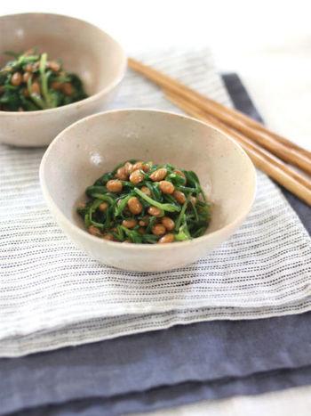 シャキシャキと歯ごたえの良いおかひじき納豆はもう一品ほしいときにもおすすめ。 余ったおかひじきは、味噌汁や天ぷらにしてもおいしくいただけます。