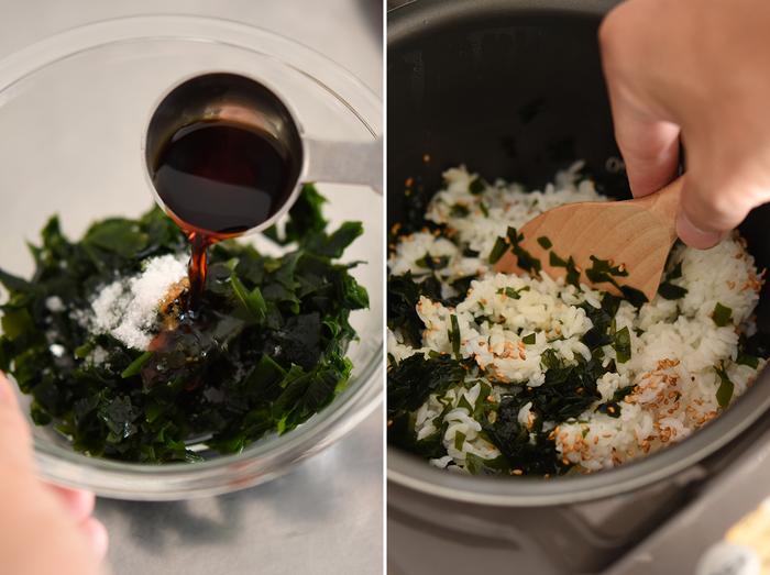 刻んだわかめに、塩、醤油、砂糖で下味をつけたら、炊き立てご飯に混ぜ込みます。このときに、白ゴマも併せてたっぷりと。市販の手軽な「わかめごはんの素」もありますが、とっても簡単に美味しくできるので、ぜひ自身で作ってみて。