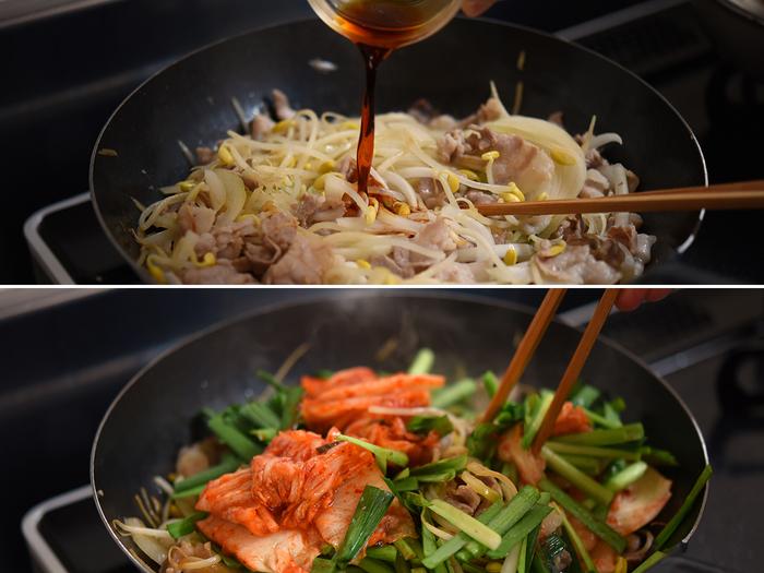 豚キムチはキムチの味付けに頼りがちですが、お肉と野菜を炒めて醤油味を軽くつけてから、キムチとニラを合わせると味がしっかりと決まってくれます。いつも味がバラバラ…という方は試してみて!