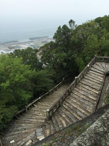 石の表面が絵になる階段。ロープウェイがあるとはいえ、自分の足で一歩ずつのぼったら、ご利益もありそうですね。ちなみに、1,159段の参道を、昔の人は「いちいちごくろうさん」と洒落を言いながら登ったそう。
