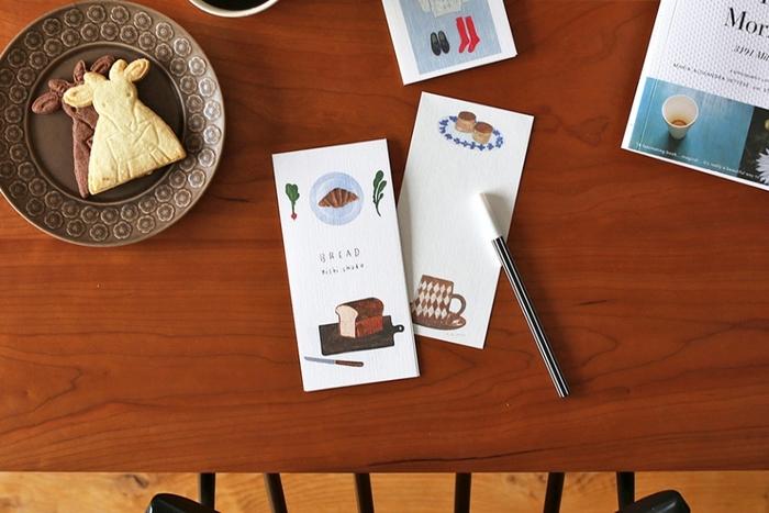 美味しそうなパンが描かれた一筆箋はお料理のお礼や、グルメな方へのメッセージに合いそう。美濃和紙の独特な質感がパンのイラストに良く合います。