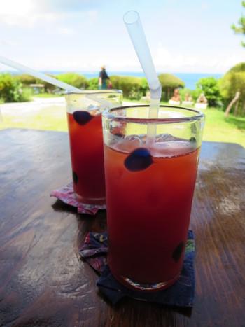 こちらも人気メニューのアセロラ生ジュース。他にも、グァバジュースなどさまざまな沖縄フルーツのジュースをいただけます。