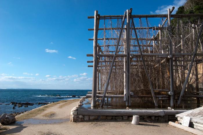 この木づくりの建物が立体式塩田です。塩を作っている様子を見ることができ、予約をすれば塩づくりも体験できますよ。