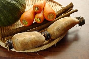 根っこを食べる野菜ごぼうと、土の中で育つれんこんは、食物繊維たっぷりでおなかをぽかぽか温めてくれる野菜です。