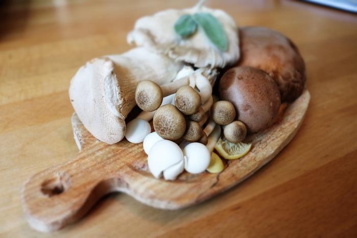 椎茸、まいたけ、しめじ、マッシュルームなどのきのこ類は、低カロリーだけど食物繊維や栄養たっぷりで、おなかに優しくぽかぽか温めてくれます。