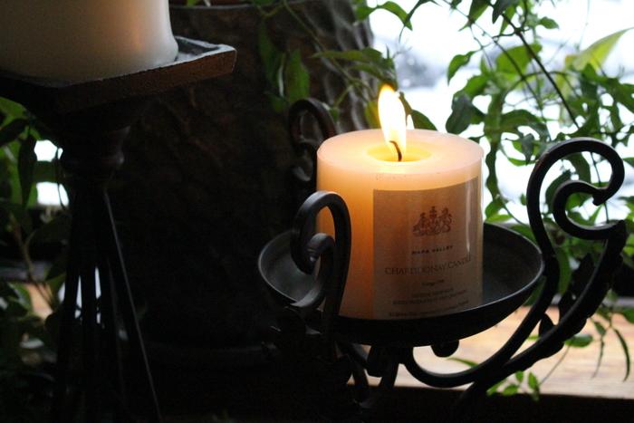 グランピングでの夜をイメージして、キャンドルに火をともしてみるのも良いですね。 グリーンな香りつきだと、さらに雰囲気がアップするかも!