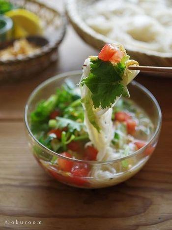 鯖缶と生野菜、パクチーを合わせたそうめん。生姜とレモンが鯖缶の臭みを消してくれます。ナンプラーで味付けして、さっぱりエスニック風の味わいに。