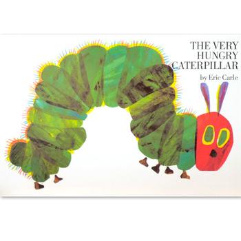 「The Very Hungry Caterpillar(はらぺこあおむし英語版)」  作:エリック・カール   世界的ベストセラー。はらぺこあおむしの英語版です。 1969年当時は、穴を開けたりする仕掛け絵本の生産は難しいものでした。そこで、エリックの担当編集者は日本を訪れ、児童書の専門出版社・偕成社の当時の社長に相談。今村社長が印刷と製本を引き受けてくれる日本の業者を探し当てたことで、はじめて「はらぺこあおむし」が1969年にアメリカで出版されたのです。世界的名作の誕生に日本の出版社が寄与していたとは、驚きですよね。