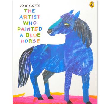 「The Artist Who Painted a Blue Horse(えを かく かく かく英語版)」   「青い馬なんているの?」いえいえ、そうではないのす。描くということは実際の色で、実際の形のまま描くことだけではないという表現の自由を教えてくれる絵本。第二次世界大戦時、ナチスドイツの下で暮らしたエリック・カール少年。頽廃芸術と決めつけられた作品をこっそり見せてもらった際、フランツ・マルクの「青い馬1」という作品があったのだそうです。表現の自由を押さえつけられた時代にこっそり見た、美しい青い馬の姿は、少年のその後の作品作りに大きな影響を残しました。 青い馬、黄色い牛...「間違った色なんて無くて、一人一人がそれを考えるものだ」というエリックの言葉は、大人にとっても力強く心に残ります。