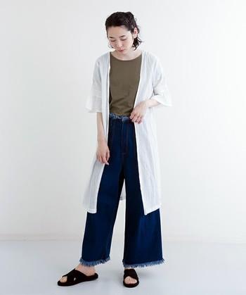 メンズライクなデニムコーデに、爽やかな白のシャツが女性らしさをプラス。ラフなサンダルでもおしゃれに見せてくれます。