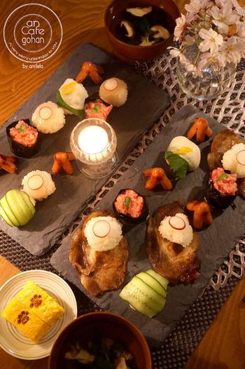 スレートプレートは洋風の料理だけでなく、和風の料理にもマッチ!色々なおかずを彩りよく盛り付けるととても素敵☆