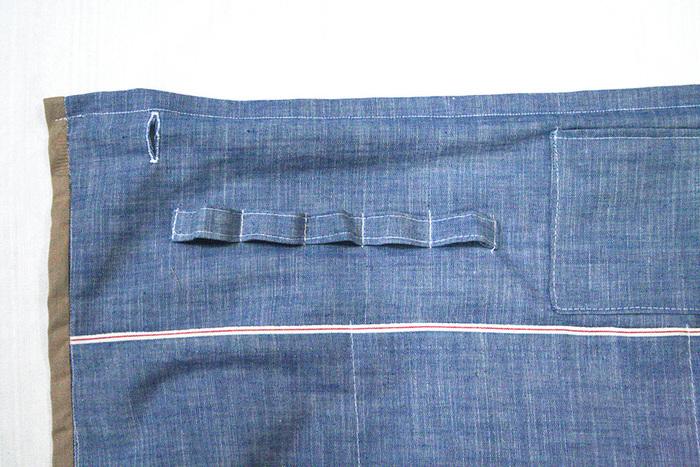 収納に合わせてポケットやループを縫い付けましょう。入れたり引っ掛けたりといろいろ使えそうですね。