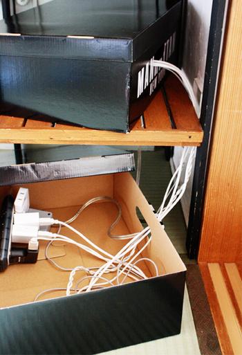箱の取っ手の穴を利用して、コードを渡します。上の段にはゲーム機などの、充電が必要な機器が入っているそう。