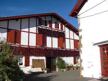 調味料にある「エスプレット」とはエスプレット村で作られたトウガラシのこと。町中がトウガラシに包まれた小さな村です。
