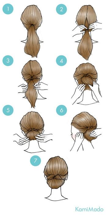 くるりんぱでつくるシニヨンならとってもお手軽♪髪を結んだあと、分け目をいれて毛束をその中に通します(くるりんぱ)。ひき出した髪を丸めて、ゴムの結び目に入れこみ(⑤)カタチを整えたらピンで留めるだけ。