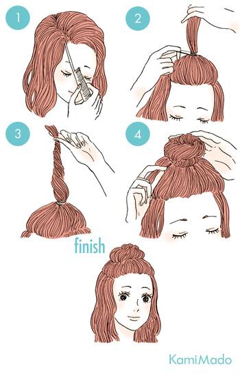 髪を少しゆるめに結んだら(②)ねじって根元部分に毛束を巻きつけ(④)ピンで留めれば出来上がり。ねじるときに少し逆立ててあげるとボリュームが出ておすすめです。