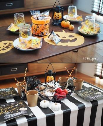 テーブルコーディネートは、ハロウィンカラーを意識すれば難しくありません。 黒・白・かぼちゃカラーを使ったり、かぼちゃのキャラクターを随所に散りばめればハロウィンムードも満載です♪