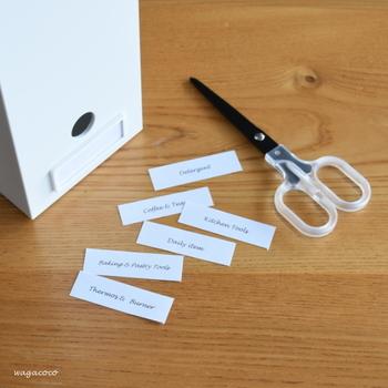 ボックスにはネームプレートなどを使って、中に何が入っているのかわかるようにしておくといいですね。