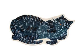 型染めユニット「kata kata」デザインの温もりある猫のお皿。なんともいえないリラックスポーズと毛並みがかわいらしいですね。今夜の夕食にはお魚料理をぜひ。