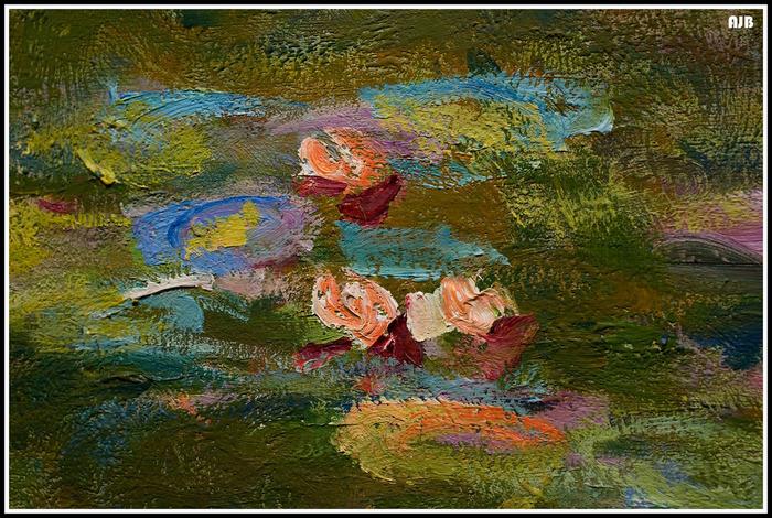 こちらはモネの「睡蓮」の拡大イメージ。絵の具の混ざり方が水彩絵の具とは違うのがわかると思います。キャンバスや下地、色を重ねるうちにできる画面の凹凸を使ってかすれたように塗られた部分、絵の具の盛り上がりがわかる部分など、立体的な仕上がりが油絵の魅力。