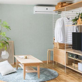 ワンルームのためにデザインされたラックはテレビや洋服、雑貨などがコンパクトに収まって便利そう。散らかりがちなお部屋にまとまりが生まれますね。