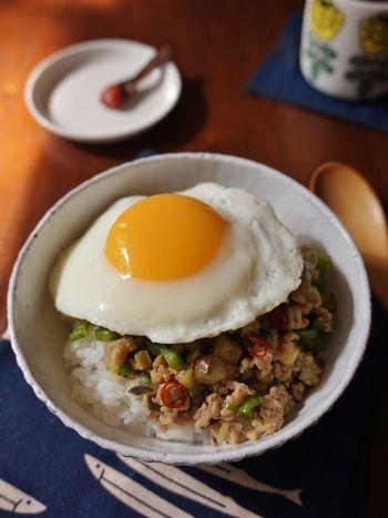 ピリ辛に味付けされたナスやピーマンなどのお野菜と、鶏ひき肉のうま味がマッチするどんぶりレシピ。目玉焼きを崩して卵黄と具材を絡ませれば、マイルドな味になりますよ♪