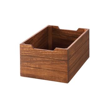 数あるボックスのなかでも、暗めの木製家具に馴染みやすいボックスはこちら。カフェ風キッチンを素敵に見せるには、木製品の木の色合いや質感も揃えて統一感を出すことです。細かいところまでこだわりたいですね。