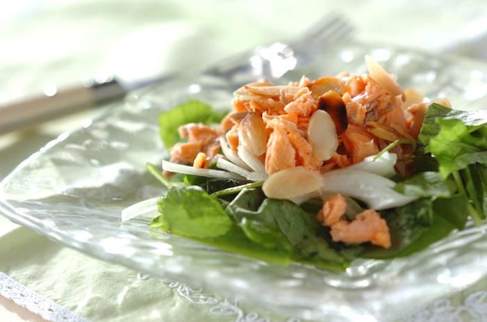 鮭はレンジでチンしてほぐすのでとっても簡単。ルッコラや玉ねぎなど、野菜もたっぷり頂けるレシピです。