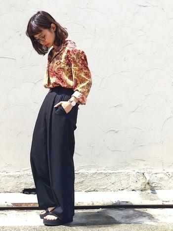 ヴィンテージのシャツがノスタルジックなスタイル。 古着なら、誰ともかぶらない「柄」がたくさんあるのがうれしい。
