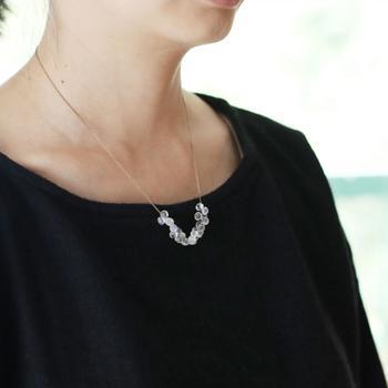 透明なムーンストーンをシルク糸で編み込んで作ったネックレス。小さなムーンストーンをいくつも連ねた繊細なデザインが特徴。  カジュアルにもフォーマルにも使えるデザインなので、長く大切にもっていたいジュエリーになりそうです。