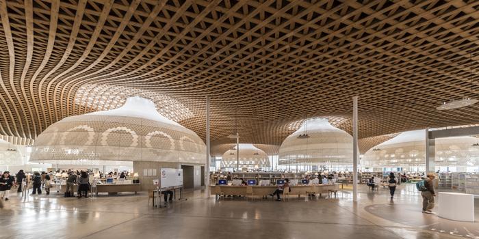 檜を使った格子屋根が美しいですね。檜は全て岐阜の県産材である「東濃ひのき」が使用されており、この設計も建築家・伊東豊雄氏によるもの。