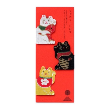 「招き猫」がモチーフになったマグネット製のしおり。ブックマークやクリップとしても使うのもおすすめです。「福を招いてもらえますように」とメッセージ代わりに、贈り物に添えるのもGOOD。
