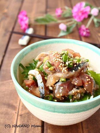 タレに漬けた生のアジを、香味野菜と合わせた一杯。気軽にお魚を摂り入れたいときにおすすめのレシピです。