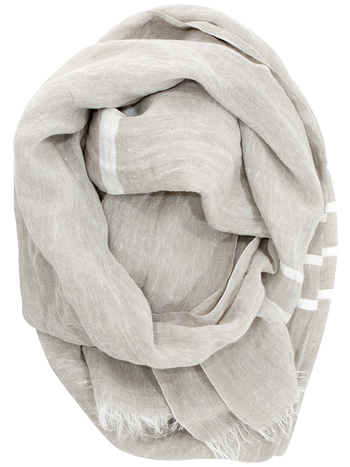 【Scarf 70×200cm】 スカーフは全4色。リネンホワイト、リネンイエロー、リネンブライトブルー、リネングレーがあります。写真はリネンホワイト。  首に巻くのはもちろん、薄手の大判ショールとして使っても。使い込むほどに肌になじみ、長く愛用できる逸品です。
