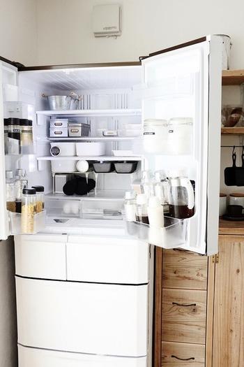 買ってはみたものの使っていない調味料、賞味期限の切れたお菓子...、いつの間にかいらないものが冷蔵庫の中にたまっていませんか?冷蔵庫の中身を一度全部出して、必要なものと不要なものにわけてみましょう。