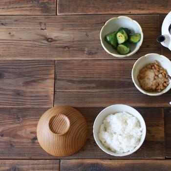 こんな風に、副菜を何品も入れてご飯と並べるとオシャレな食卓の風景ができあがります。少しずついろいろ食べたいとき、この器を並べてご飯を盛る。なんだか楽しい朝ごはんといった感じです。