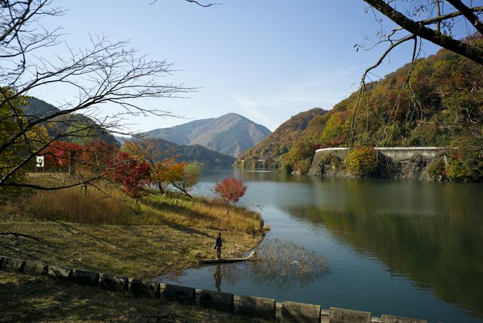 左手には丹沢湖の雄大な光景が♪とくに紅葉シーズンはしっとりとした情景に、しばし立ち止まって眺めていたくなります。