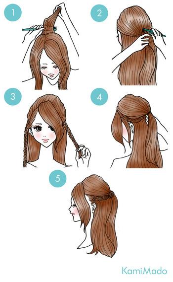 バックの髪を少し逆立ててその部分を包み込むように髪をまとめます。次にサイドの髪を少しとり、左右それぞれ三つ編みにします。三つ編みした左右の毛束を中央の結び目に集めながら、くるくる巻いて結び目を隠したら完成!