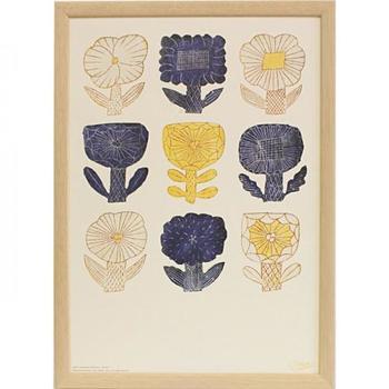 陶器やファブリック、版画など幅広いジャンルで大人気の【鹿児島 睦/かごしま まこと】さんの図案を使ったポスター。こちらのデザインは、もともと陶器に使われていたものなのだそう。