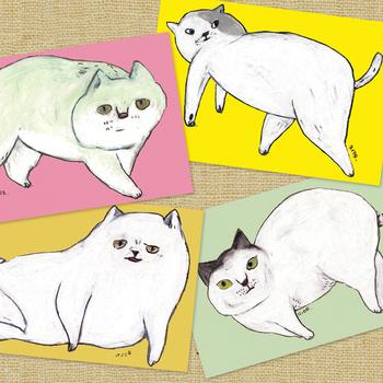 ▪️acorworks ポストカード4枚セットねこさんたち  猫たちのふてぶてしい表情が愛おしい、パターン別で4枚セットのポストカード。どの猫もそれぞれにかわいい、猫好きさんにおすすめのカードです。