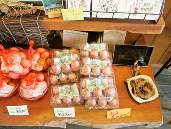 店で販売するのは、平飼いの新鮮卵と、美山牛乳や濃厚な卵を使ったシフォンケーキ等。