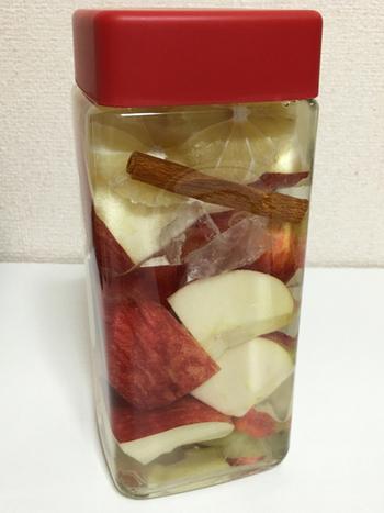 リンゴとレモンを漬け込んだリンゴ酒に、シナモンスティックを追加。シナモンのスパイシーな香りがクセになりそう。