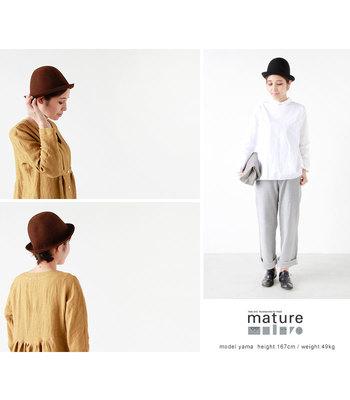 「mature ha.(マチュアーハ)」は、デザイナーの高田雅之さん・高田ユキさん夫妻によって2004年、神戸にて帽子セレクトショップ「mature」としてスタート。2011年に「マチュアーハ」に改名し本格的に販売を開始しました。